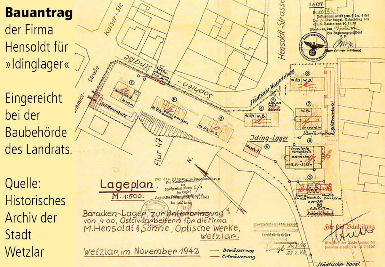 Plan zum Bauantrag eines Lagers der Fa. Hendoldt