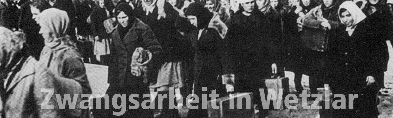 Zwangsarbeiterinnen aus Russland auf dem Weg in das Lager der Fa. Leitz