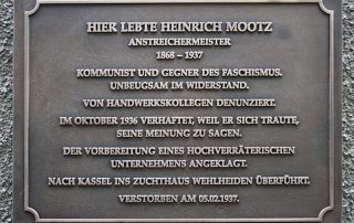 Gedenktafel zu Ehren Heinrich Mootz