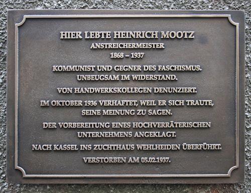 Gedenktafel für Henrich Mootz