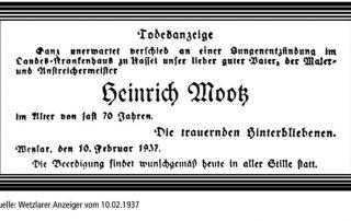 Todesanzeige von Heinrich Mootz