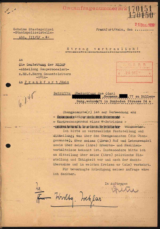 Alltag im 3. Reich: Anfrage GESTAPO zu Vertrauensperson