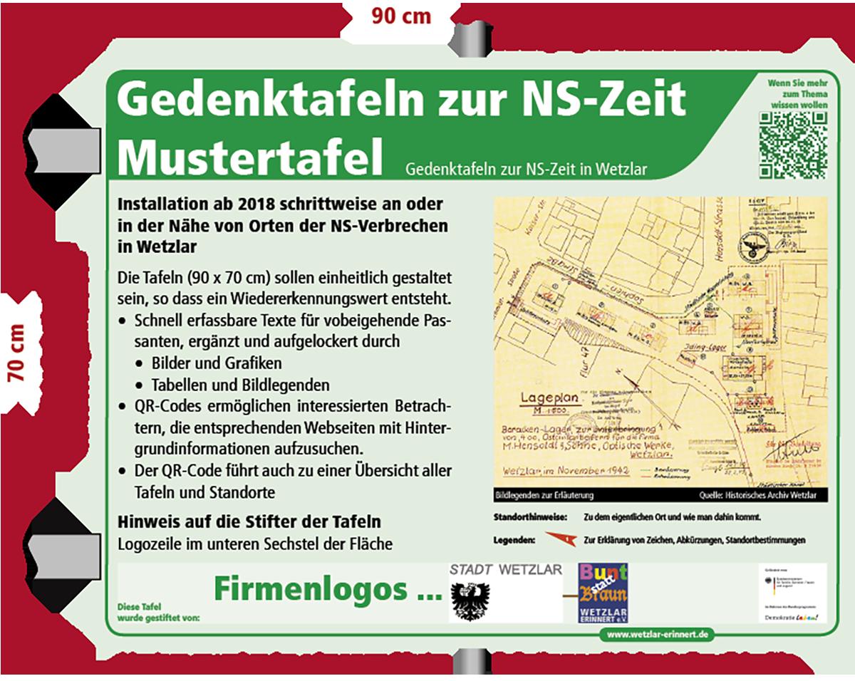 Gedenktafel zu Ereignissen der NS-Zeit - Mustertafel