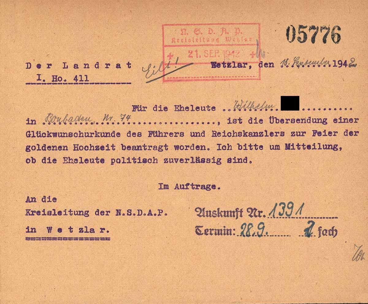 3. Reich Anfrage zur Integrität eines Ehepaars und ob der Führer ihnen zur Golden Hochzeit gratulieren soll