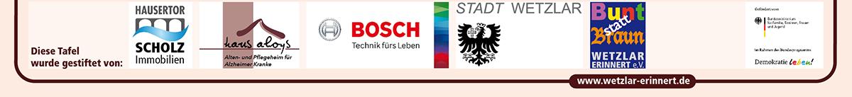 Zeile mit Logos der Tafelstifter NSDAP-Kreisleitung Borderaux-rot