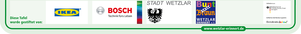 Zeile mit Logos der Tafelstifter NSDAP-Kreisleitung grün