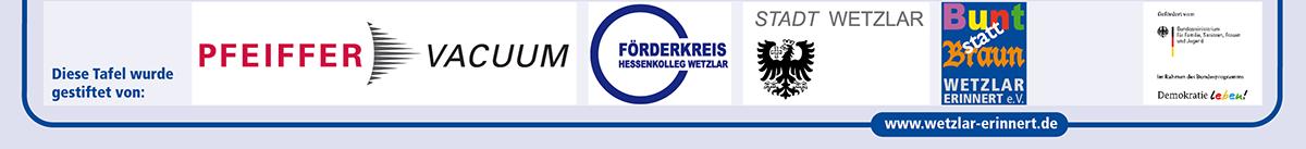 Zeile mit Logos der Tafelstifter NSDAP-Kreisleitung - blau