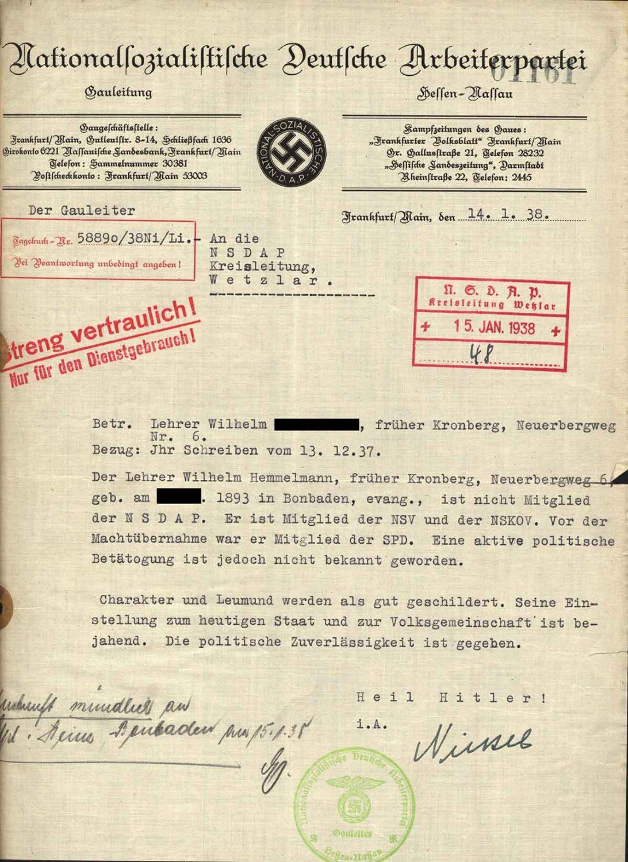 Alltag im 3. Reich: Bescheinigung der Gauleitung, dass ein Lehrer integer ist
