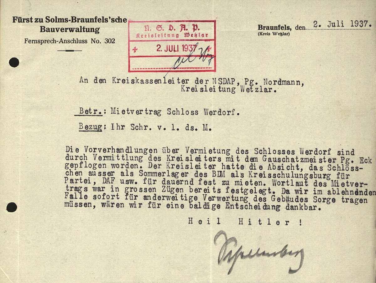 Alltag im 3. Reich: Anfrage Fürst von Solms, ob er jemanden etwas vermieten darf