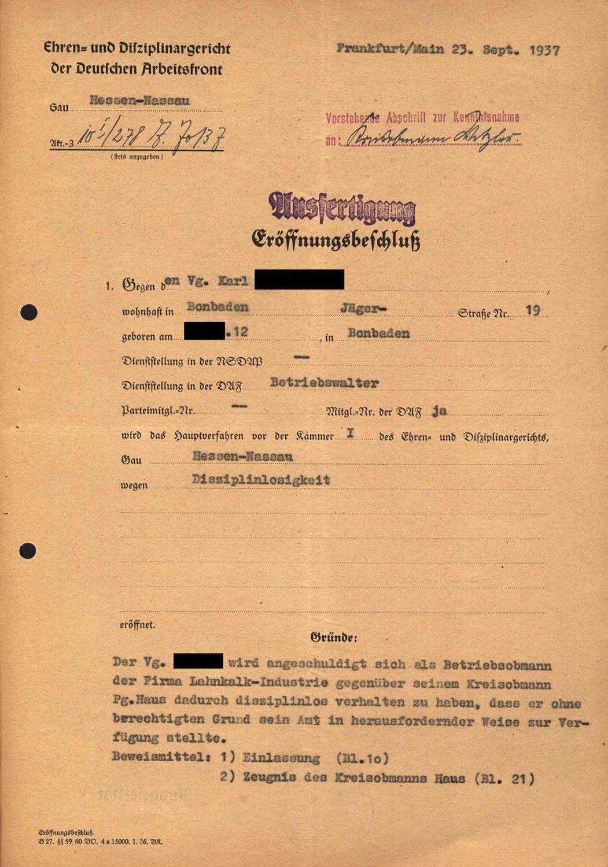 Alltag im 3. Reich: Beschuldigung eines Betriebsobmanns der Disziplinlosigkeit