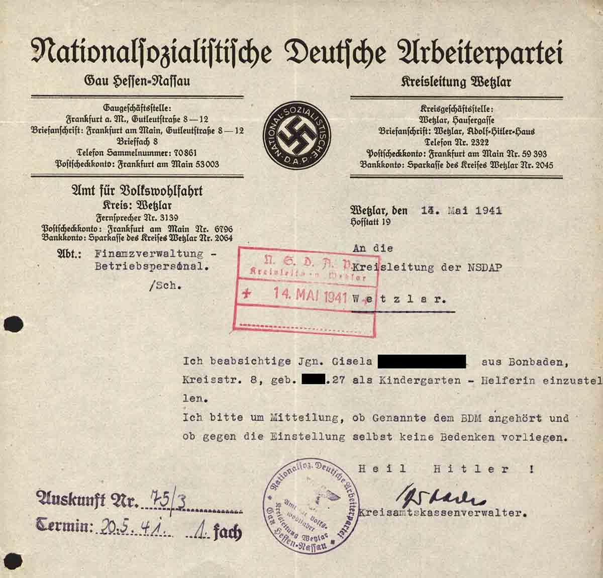 Alltag im 3. Reich: Erlaubnis, um eine Kindergärtnerin anstellen zu dürfen