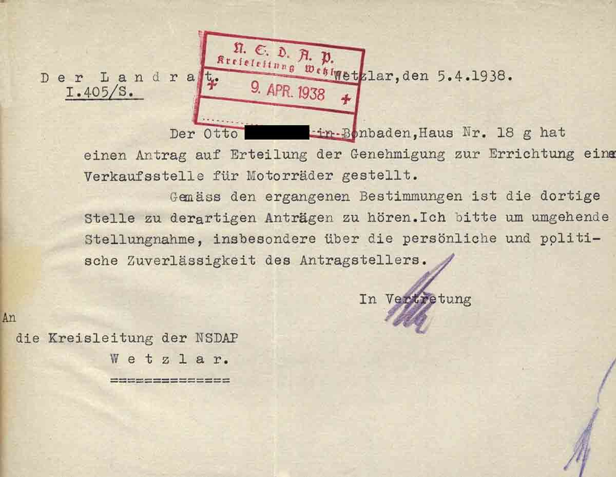 Alltag im 3. Reich: Anfrage des Landrates zur Genehmigung einer Verkaufslizens