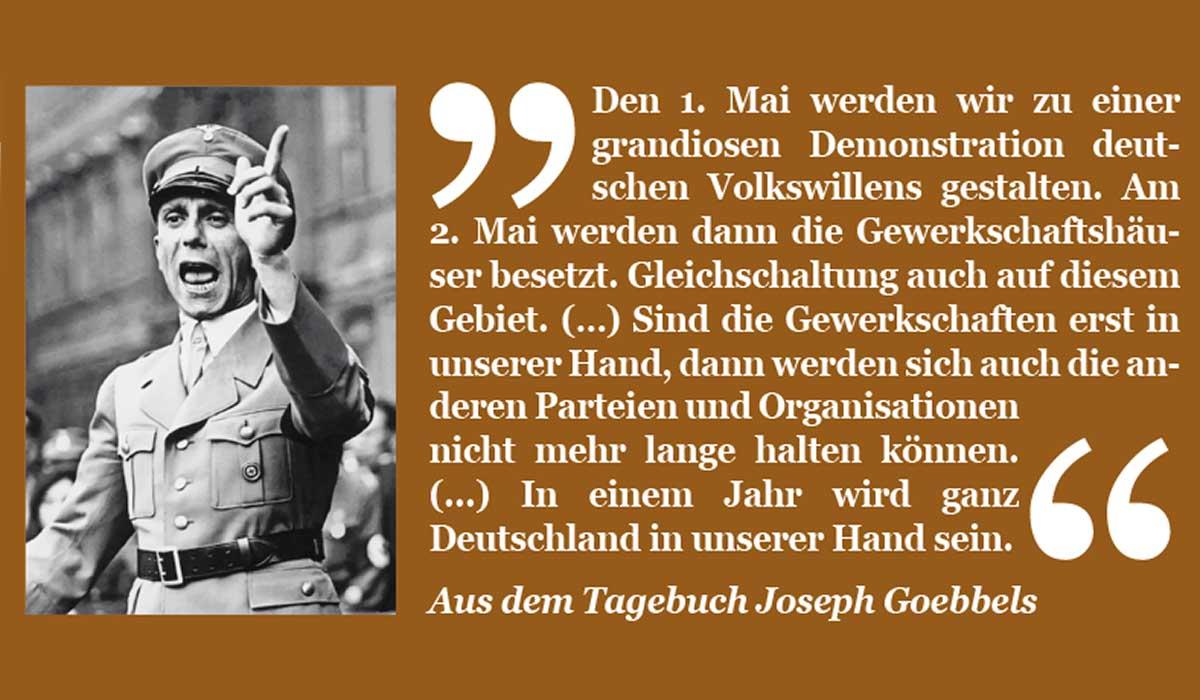 Zitat aus Goebbels Tagebuch zur Zerschlagung der Gewerkschaften