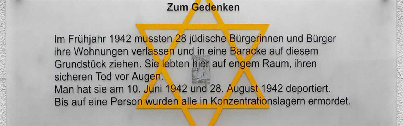 Banner Jüdisches Leben Gedenktafel Jahnstraße