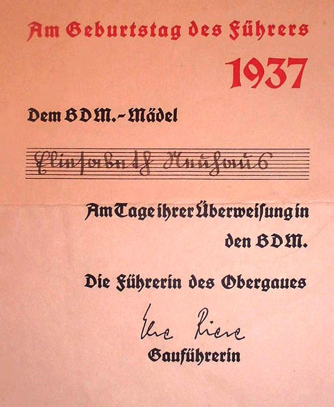 Alltag im 3. Reich: BDM-Maiden Mitgliedsausweis