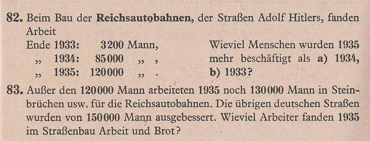 Alltag im 3. Reich Lernmaterial für Schulen: Rechenaufgabe mit der Reichsautobahn