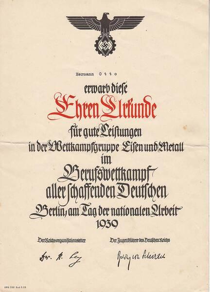 Alltag im 3. Reich: Urkunde zum Berufswettkampf