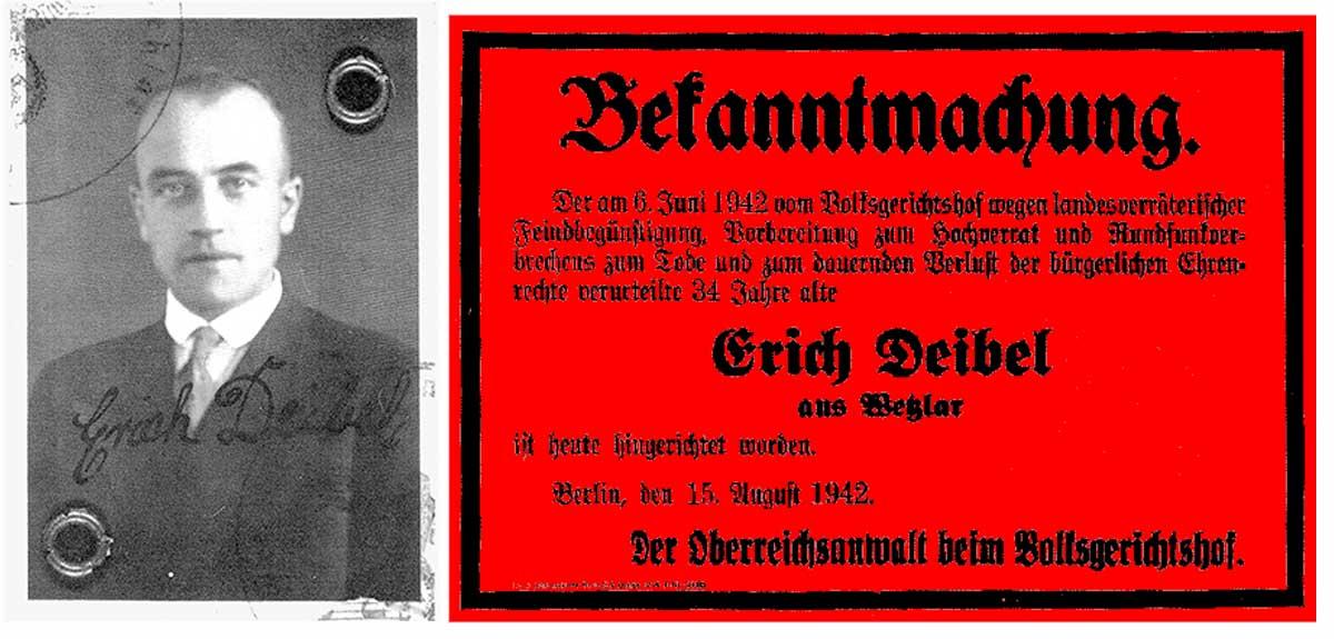 Todelsurteil für Erich Deibel Montage