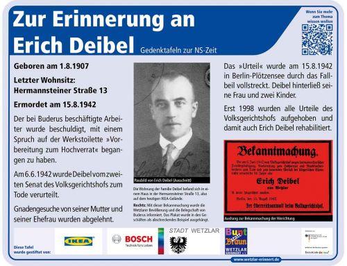 Gedenktafel Erich Deibel