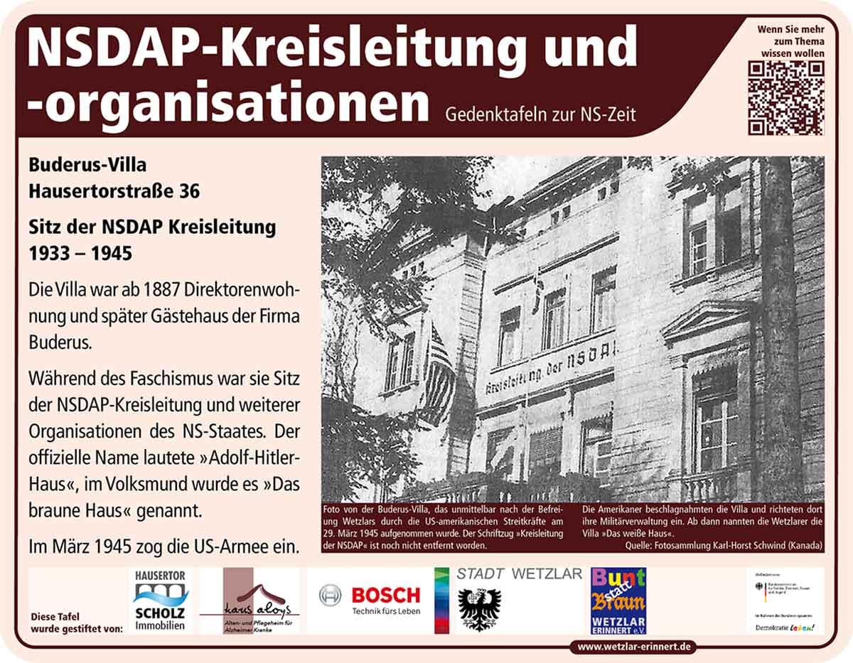 Teaser Gedenktafel NSDAP Kreisleitung