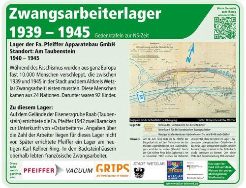 Gedenktafel Lager Taubenstein