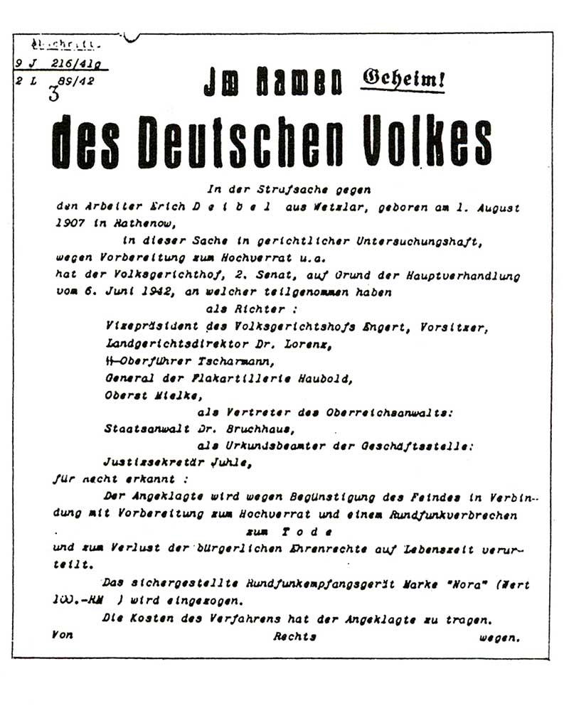 Todesurteil vom Volksgerichtshof für Erich Deibel