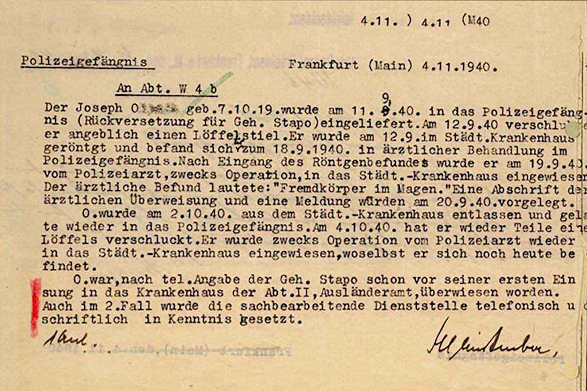 Gestapo AN Verhaftung Joseph O.