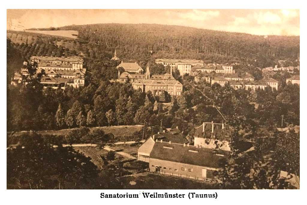 Historische Postkartenansicht Sanatorium Weilburg
