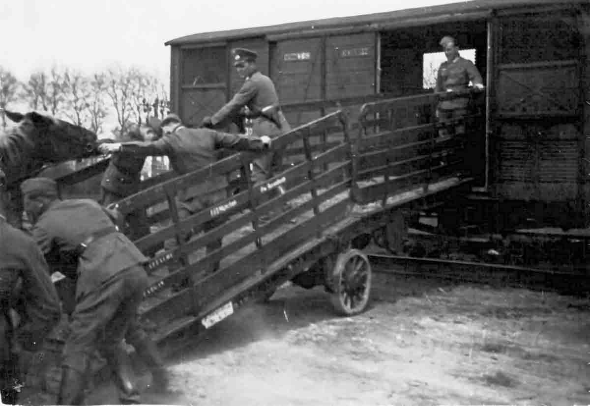 Donsbach Juni 1941 Verladung von Pferden auf Militärzug aus Frankreich (Bhf Auxonne)