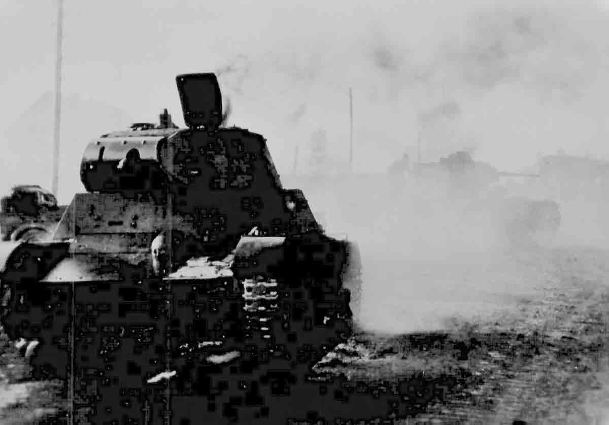 Donsbach Februar 1942 zerstörter Panzer der Roten Armee