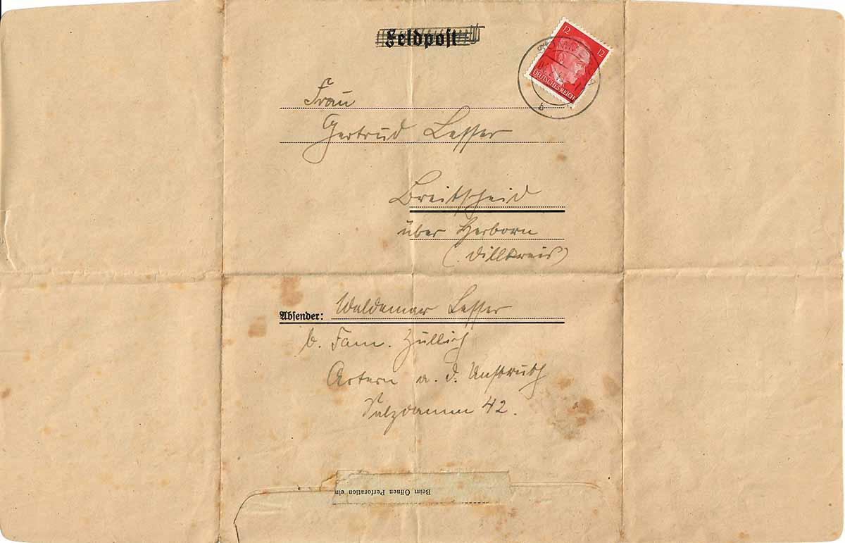 Waldemar Lesser Feldpostbrief 03.02.1943 Deckblattseite