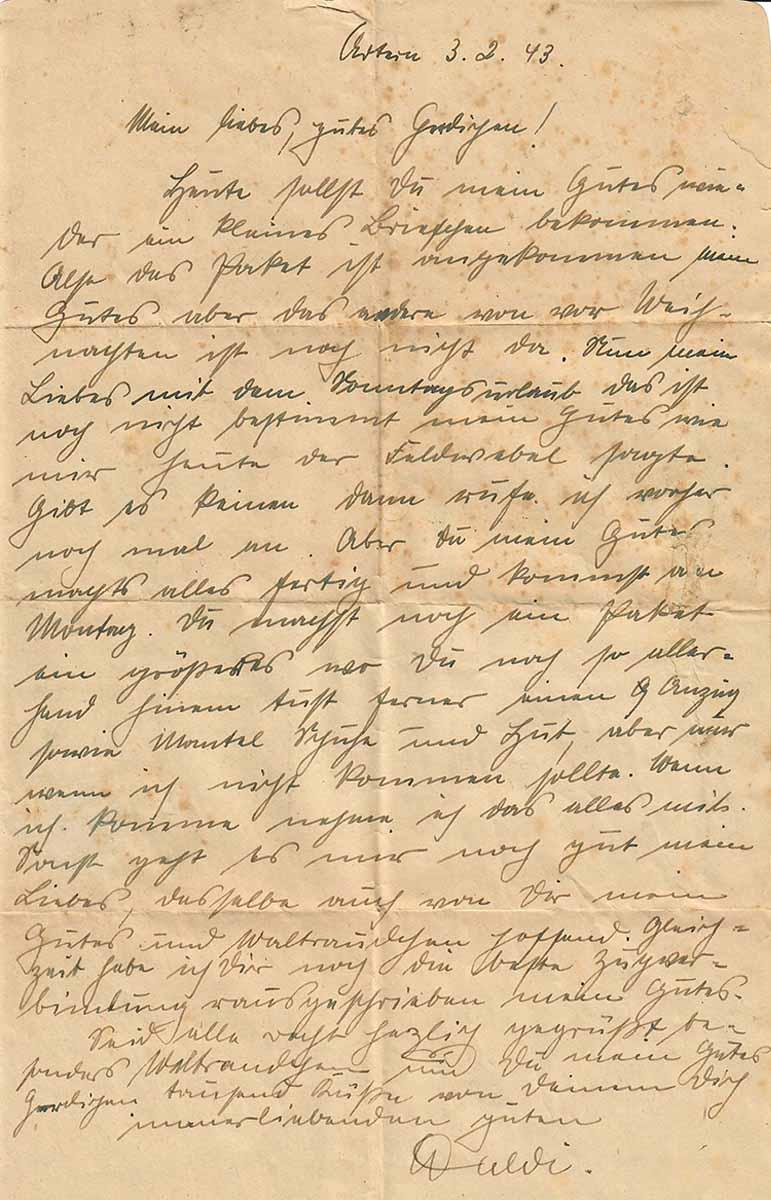 Waldemar Lesser Feldpostbrief 03.02.1943 Briefseite
