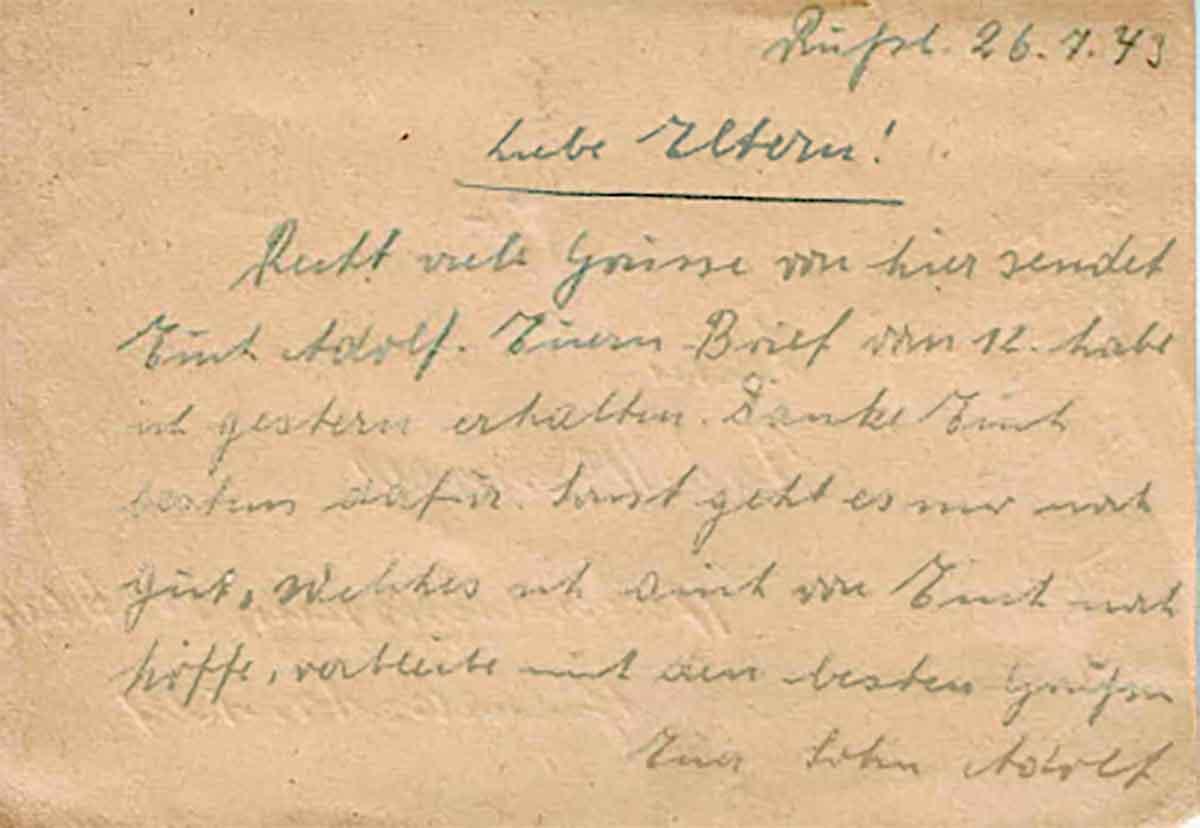 Adolf Hammer Feldpostbriefe Feldpostkarte 1943 Textseite