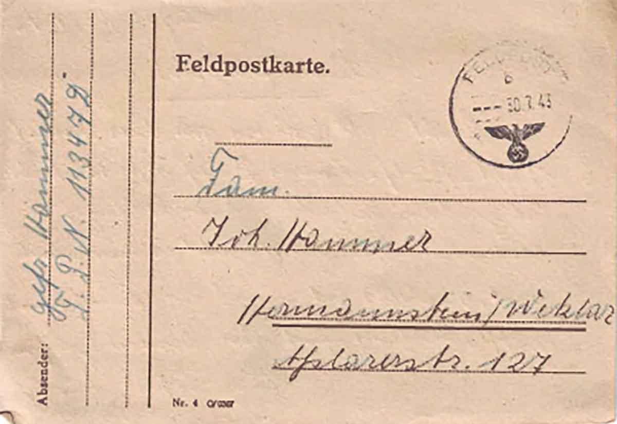 Adolf Hammer Feldpostbriefe Feldpostkarte 1943 Adressseite
