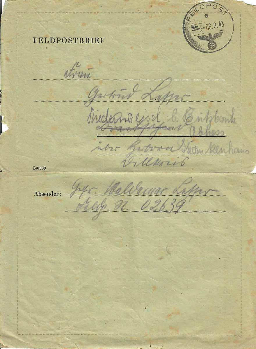 Waldemar Lesser Feldpostbrief 05.09.1943 Deckblattseite