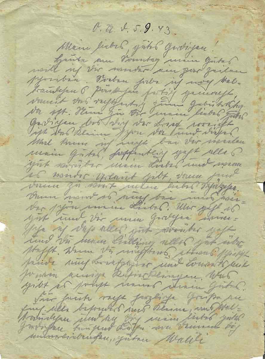 Waldemar Lesser Feldpostbrief 05.09.1943