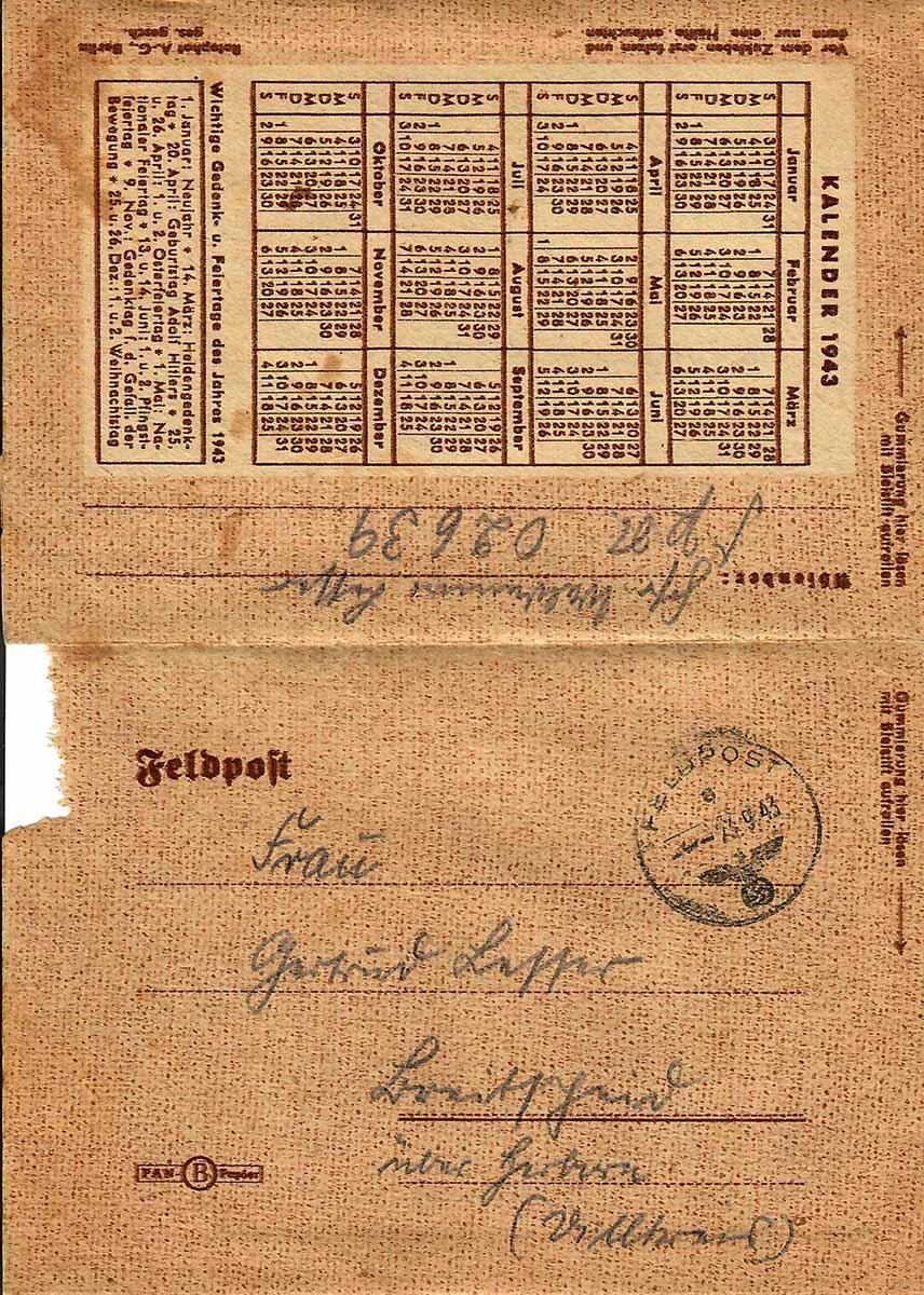 Waldemar Lesser Feldpostbrief vom 23.09.1943