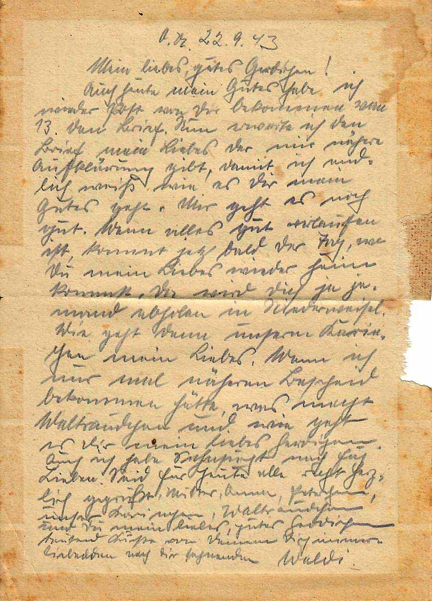 Waldemar Lesser Feldpostbrief vom 22.09.1943