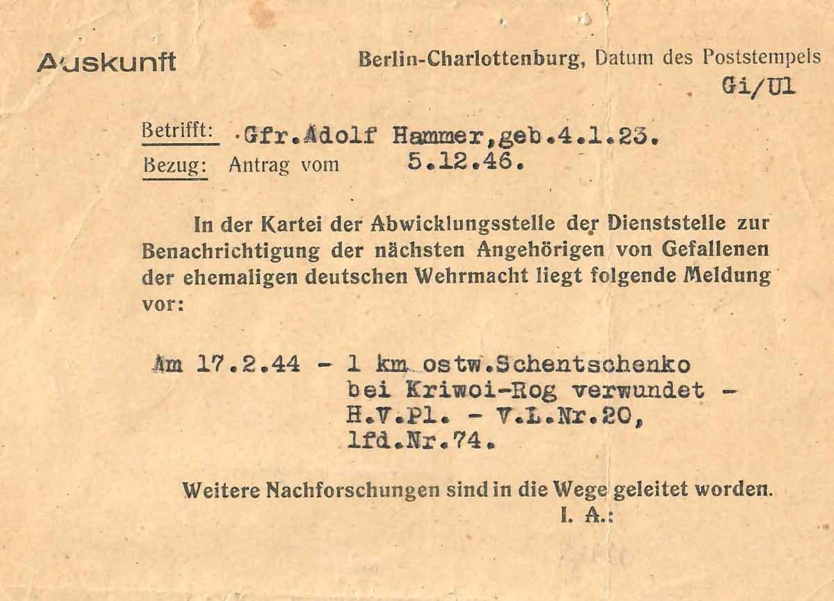 Adolf Hammer Feldpostbriefe Meldekarte