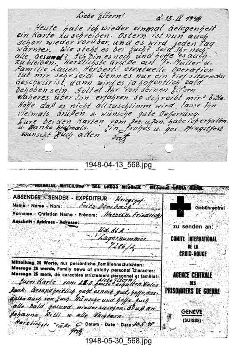 Karte aus der Gefangenschaft von Willi Donsbach
