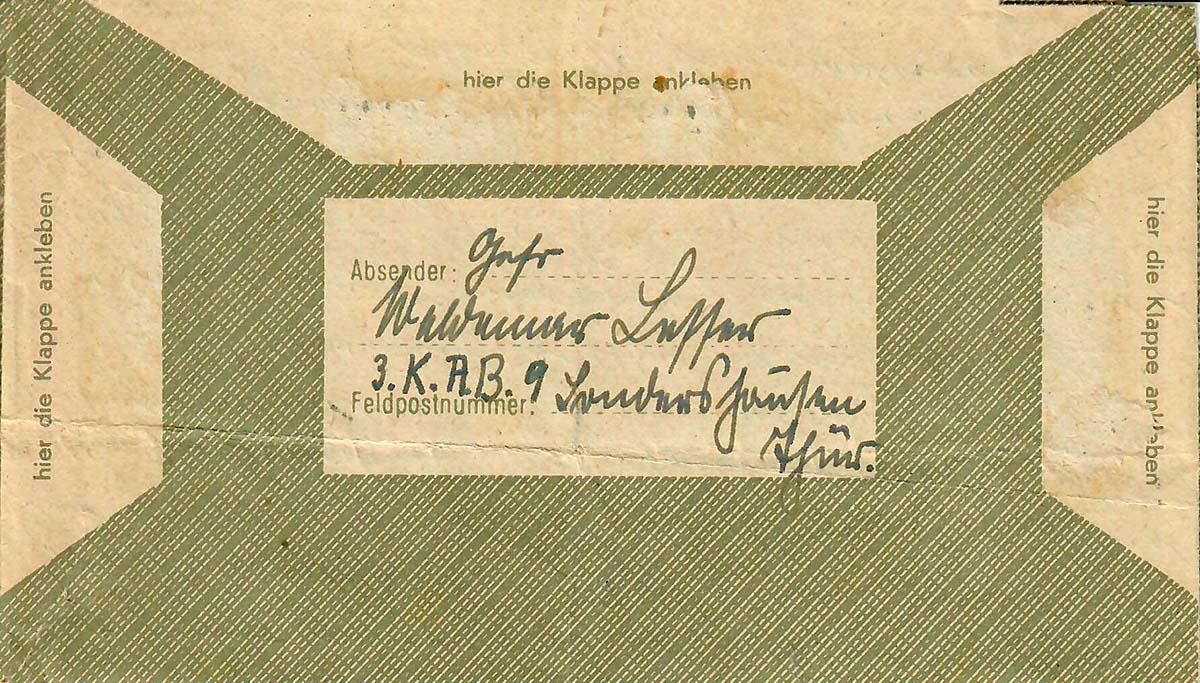 Waldemar Lesser Umschlag für Feldpostbriefe RS