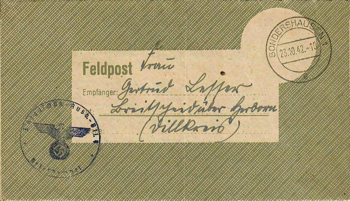 Waldemar Lesser Umschlag für Feldpostbriefe VS