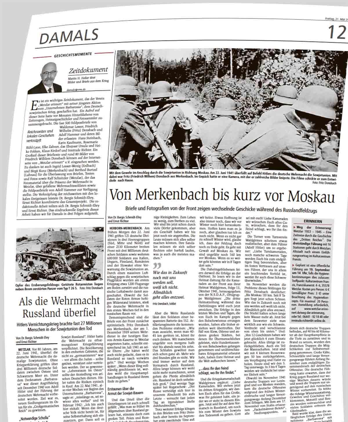 WNZ-Ausgabe 21.05.2021 DAMALS Unternehmen Barbarossa