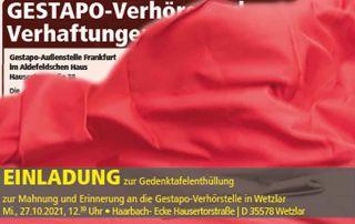 Einladung zur Gedenktafelenthüllung Gestapo-Verhörstelle am 27.10.2021